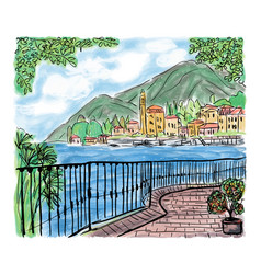 Mediterranean seascape painting vector