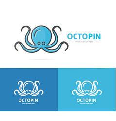 octopus logo unique marine and seafood vector image