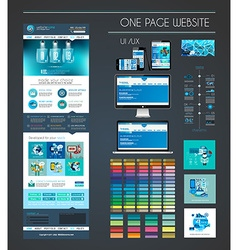 One page website flat UI UX design template vector image