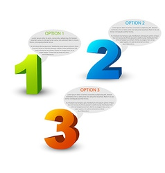 One two three - 3D progress icons vector image