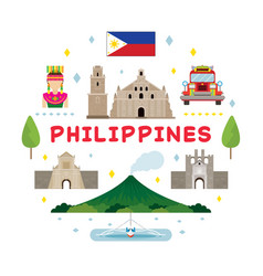 Philippines travel attraction label vector