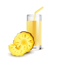 Pineapple juice isolated on white vector image vector image