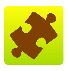 Puzzle piece sign brown icon at green vector