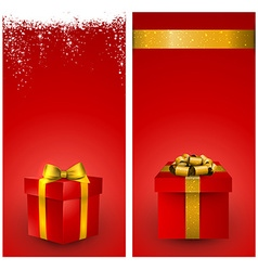 Red gift box banners vector image vector image