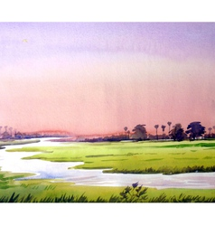 Rural sunset watercolor painting verson vector
