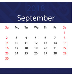 september 2018 calendar popular blue premium for vector image