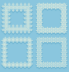 Set of frost frames from snowflakes white cadres vector