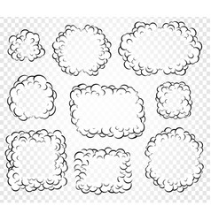 set of isolated cartoon speech bubbles frames of vector image vector image