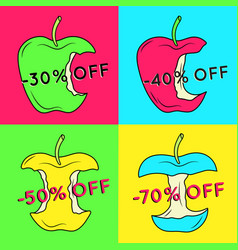 Set of summer sale backgrounds with apple vector