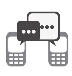 silhouette set tech cellphone and dialog box icon vector image vector image