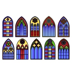 stained glass windows set vector image vector image