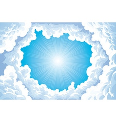 Sun in the sky with clouds vector