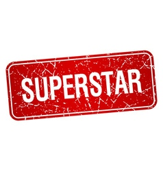 Superstar red square grunge textured isolated vector