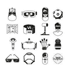 symbols of virtual reality game panoramic in 3d vector image