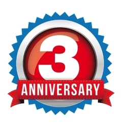 Three years anniversary badge with red ribbon vector