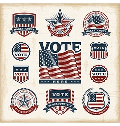 Vintage usa election labels and badges set vector