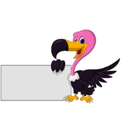 Vulture cartoon with blank sign vector image vector image