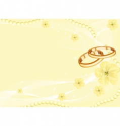 wedding rings on yellow vector image vector image