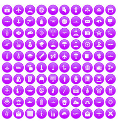 100 military journalist icons set purple vector