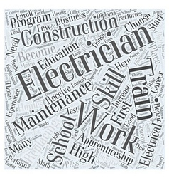 Electrician education requirements word cloud vector