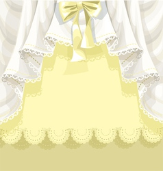 Yellow background with lace curtains and bow vector