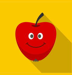 red smiling apple icon flat style vector image