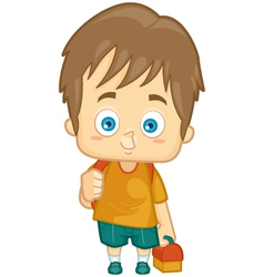 Kid boy school lunch box vector