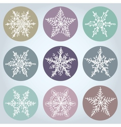 Snowflake winter set icon collection vector