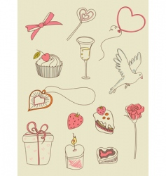 Doodle valentine's day icons vector