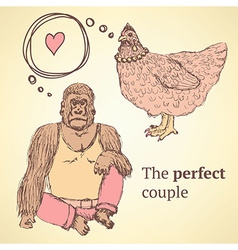 Sketch chicken and gorilla in vintage style vector