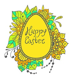 Easter doodle egg with floral ornament vector