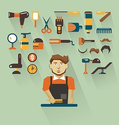 Profession of people flat infographic barber vector