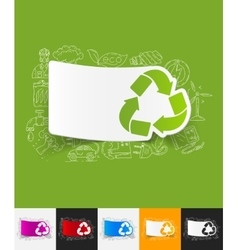 Recycle sign paper sticker with hand drawn vector