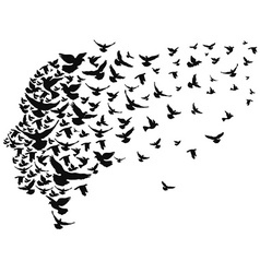 Doves flying away with human head vector
