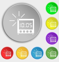 Digital alarm clock icon sign symbols on eight vector