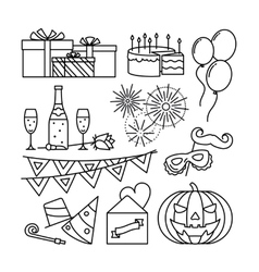 Celebration and party line icons vector