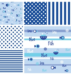 Blue seamless fish pattern -swatches vector