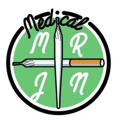 Color vintage medical marijuana emblem vector