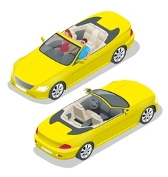 Cabriolet car isometric  flat vector