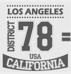 california los angeles district sport t-shirt vector image vector image