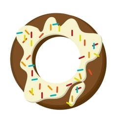 Donut with cream and sprinkles icon vector