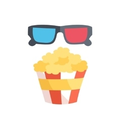 Flat design of 3D cinema and vector image