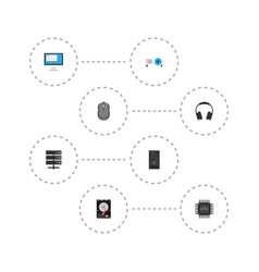 Flat icons datacenter computer mouse vector