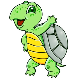 funny green turtle vector image
