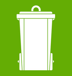 garbage bin icon green vector image vector image