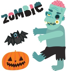 Halloween zombie monster character with pumpkin vector image vector image