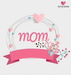 Happy Mothers Day Floral bouquets with ribbon and vector image