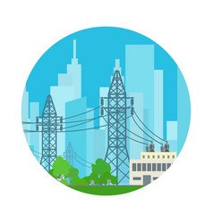 Icon high voltage power lines vector