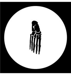 Isolated human foot bones black icon eps10 vector