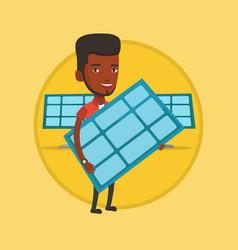 Man holding solar panel vector